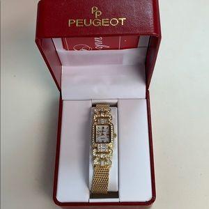 Peugeot Gold Rhinestone Encrusted Watch MOP New